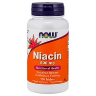 NOW FOODS Niacin 500mg, 100tabl. - Niacyna - Witamina B-3 - PP
